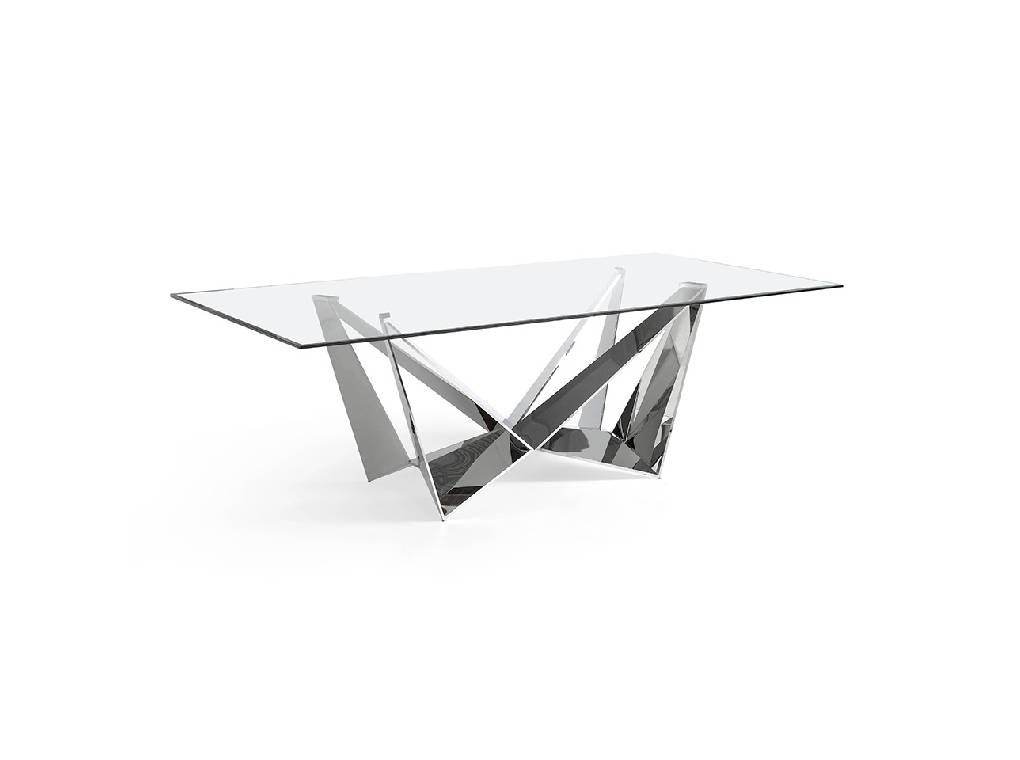 Stainless steel rectangular table with tempered glass cover.