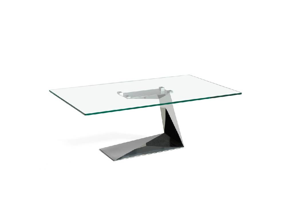 Mesa de centro de acero inoxidable con tapa de cristal templado