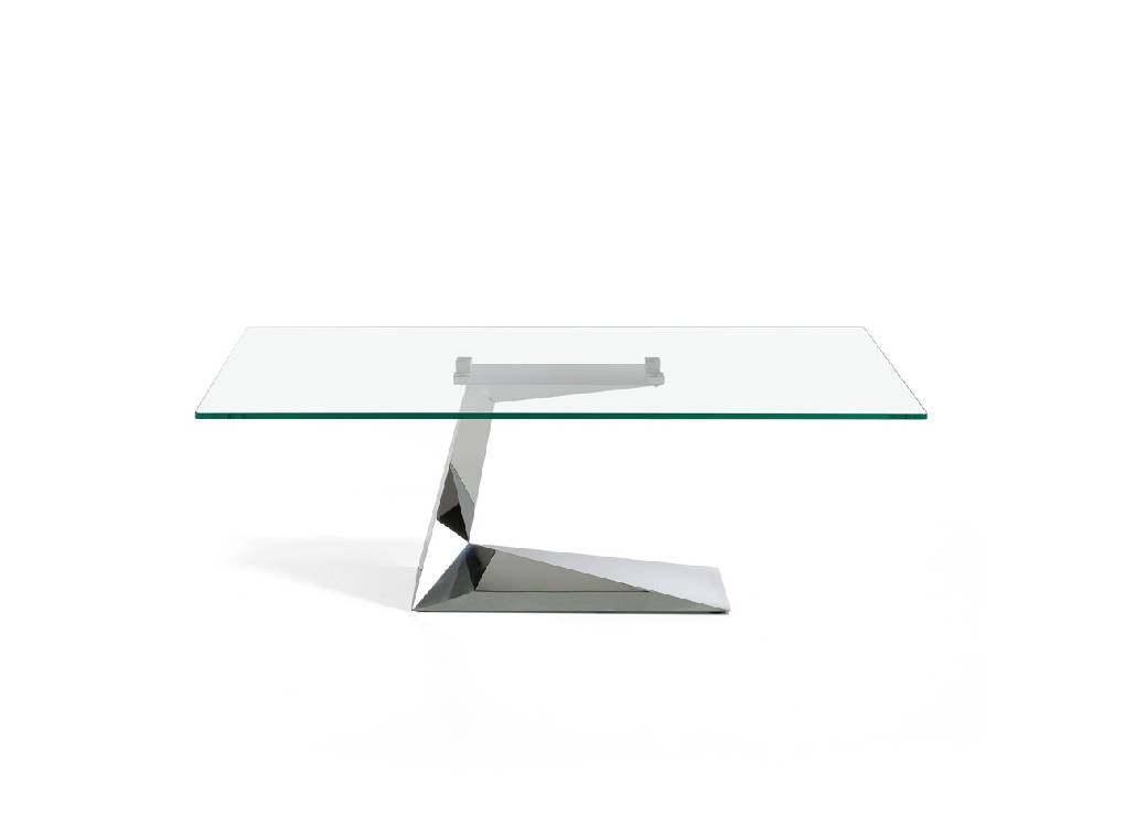 Stainless steel coffee table with tempered glass top