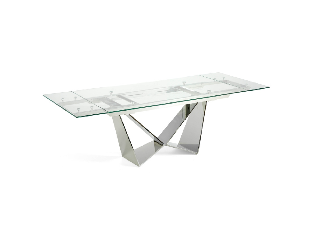 Dining room table with extensions manufactured in chromium veneer stainless steel