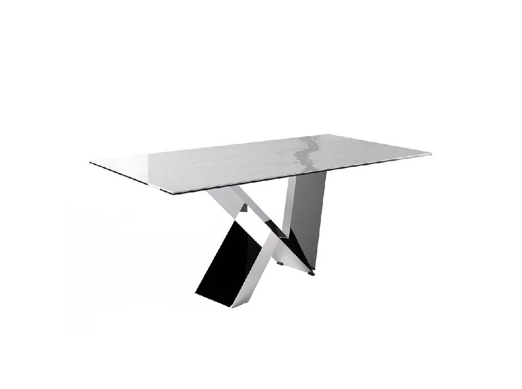 Dining table with  ceramic marble top and stainless steel frame.