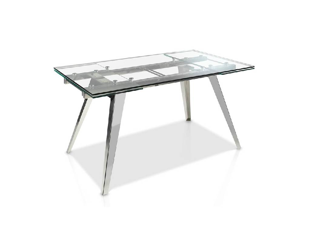 Extendible Dining table with tempered glass top and stainless steel frame
