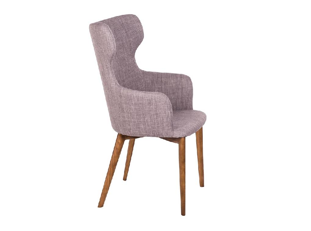 Upholstered chair with structure in Walnut wood color and upholstered in cloth.