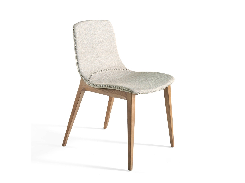 Chair upholstered in fabric with structure in Walnut color