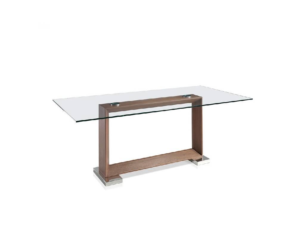 Mesa de comedor con base de madera chapada en nogal