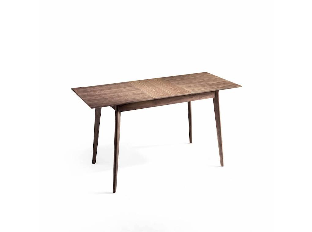 Extendable dining table manufactured in Walnut.