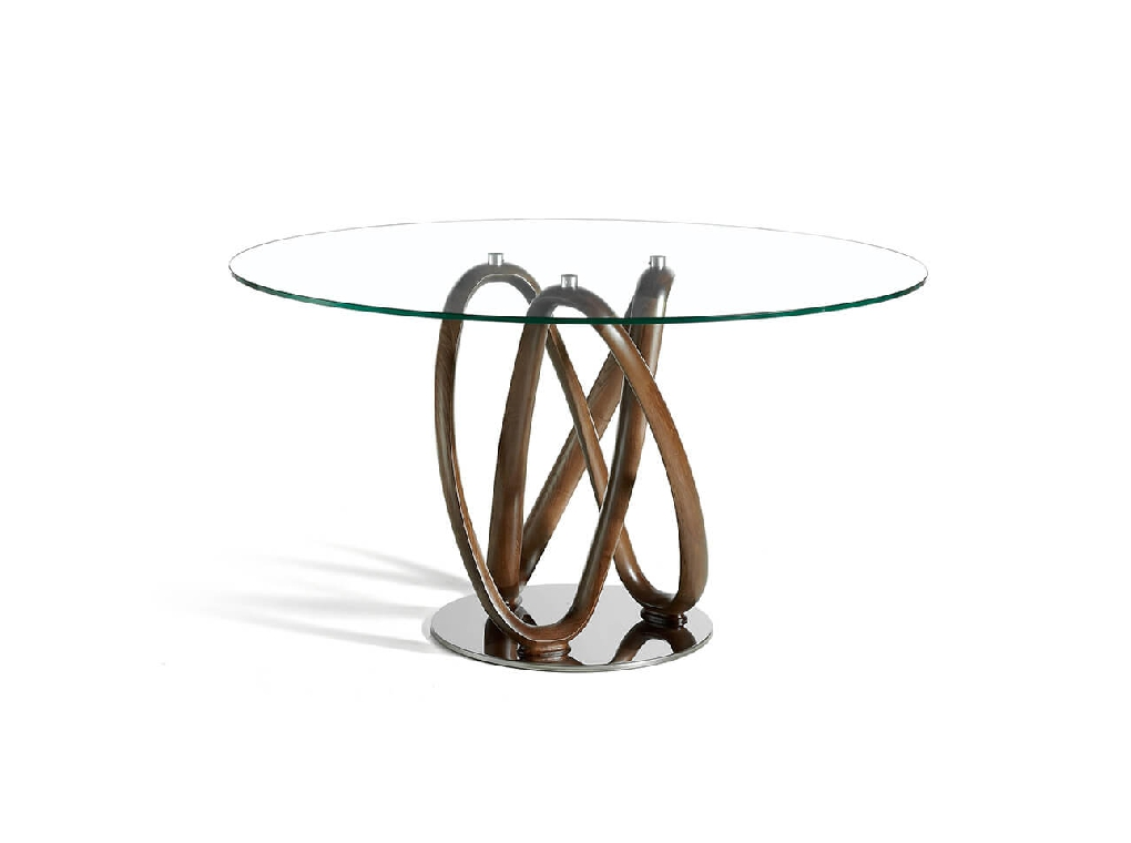 Walnut-coloured bent solid wood dining table tempered glass tabletop and steel base