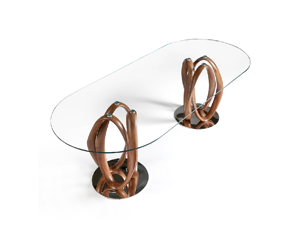 Tempered glass dining table and double solid walnut base