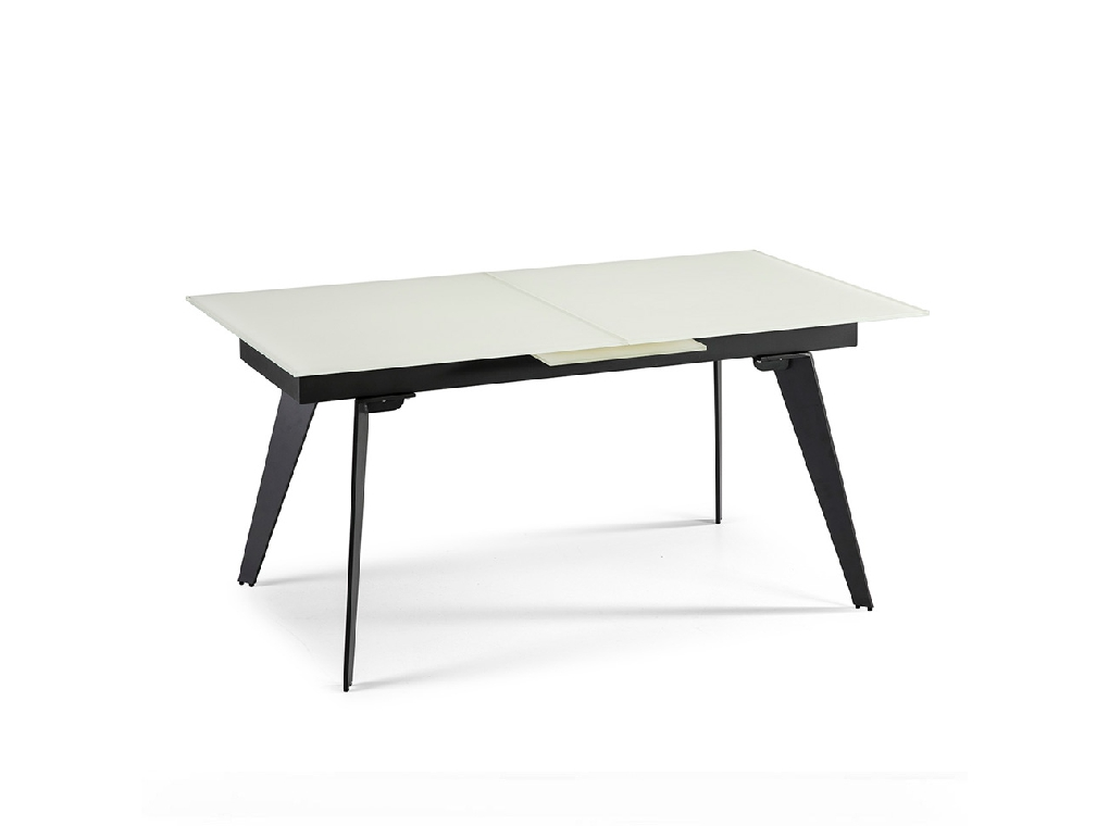 Dining table with extendable center made of stainless steel painted in black