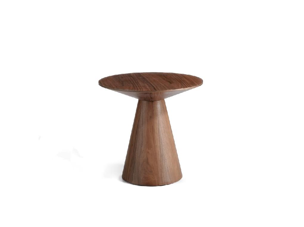 Corner table in veneered walnut