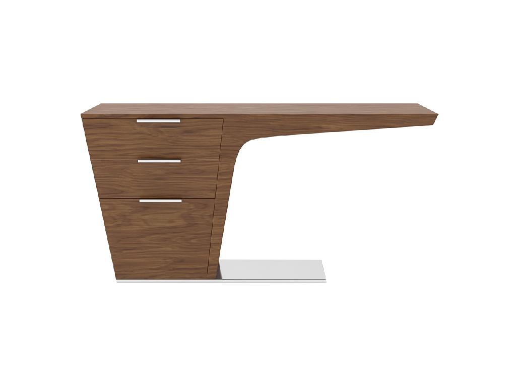Office desk in walnut veneered wood.