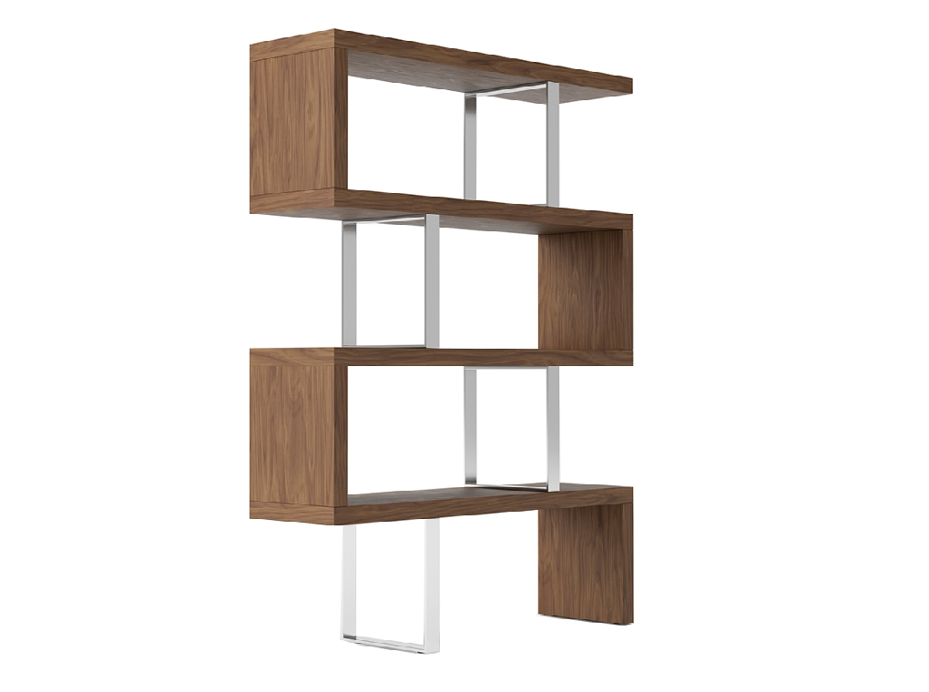 Walnut colored wooden shelf and chrome steel