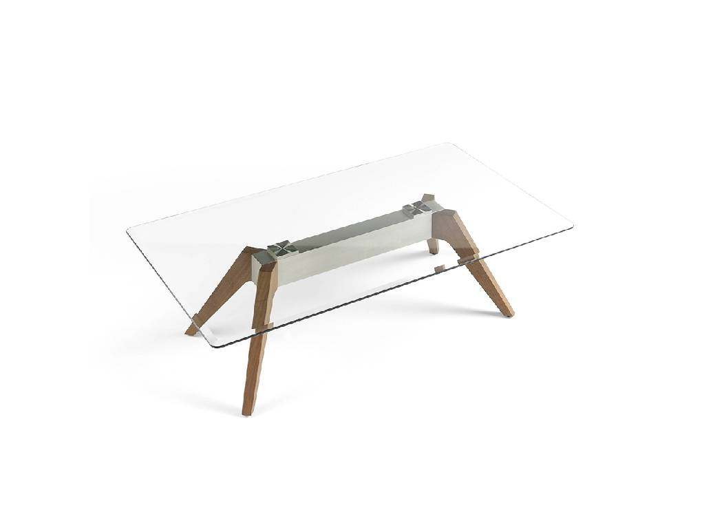 Coffee table with tempered glass tabletop, stainless steel base and walnut legs