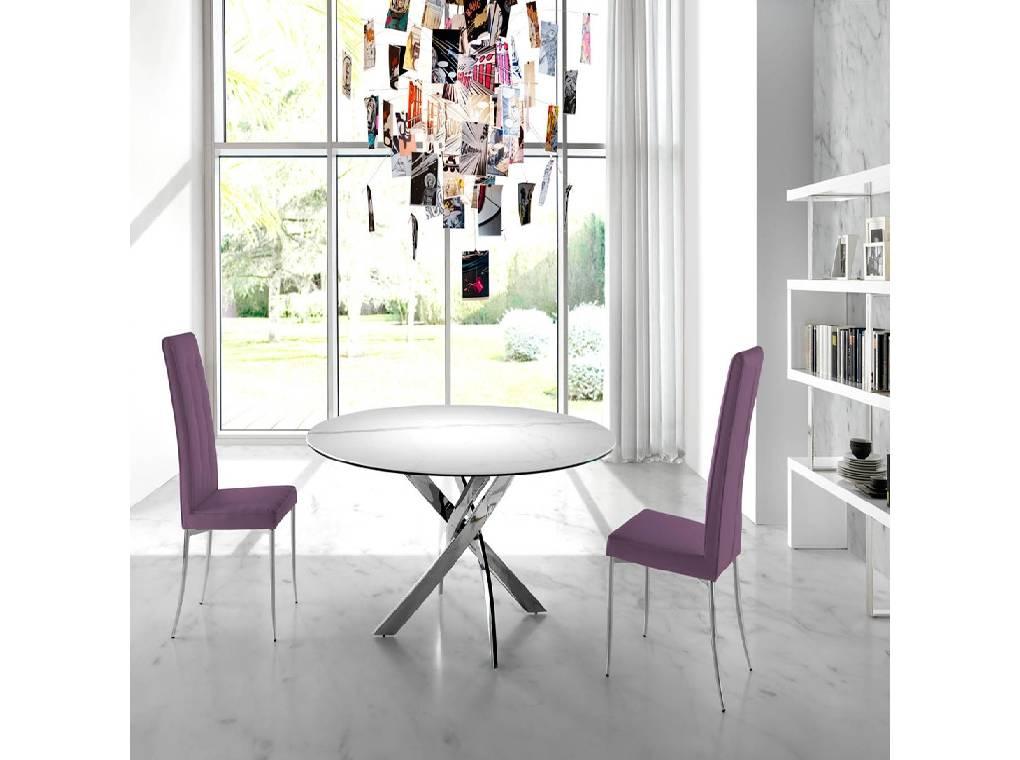 Mesa de comedor con base de acero inoxidable y tapa de mármol porcelánico