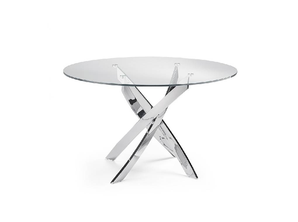 Dining table with stainless steel base.