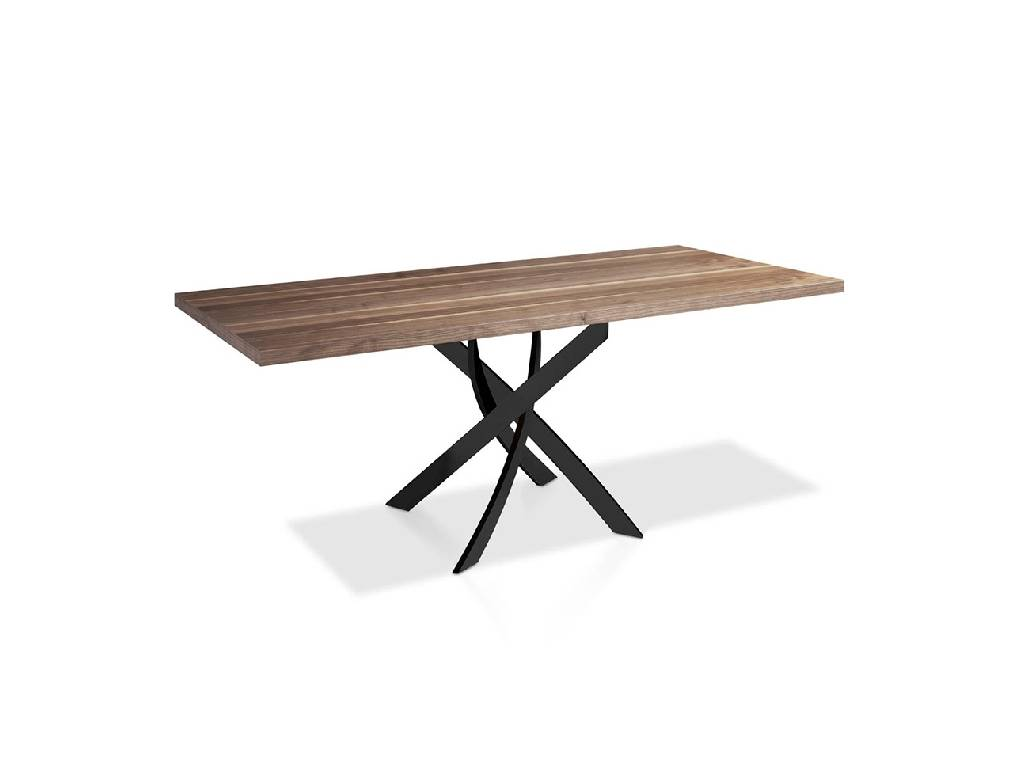 Mesa de comedor con base de acero pintado y tapa de madera de nogal