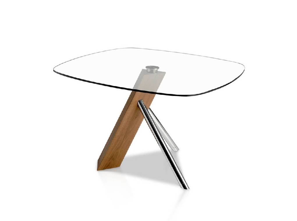 Tempered glass, walnut and chrome steel dining table
