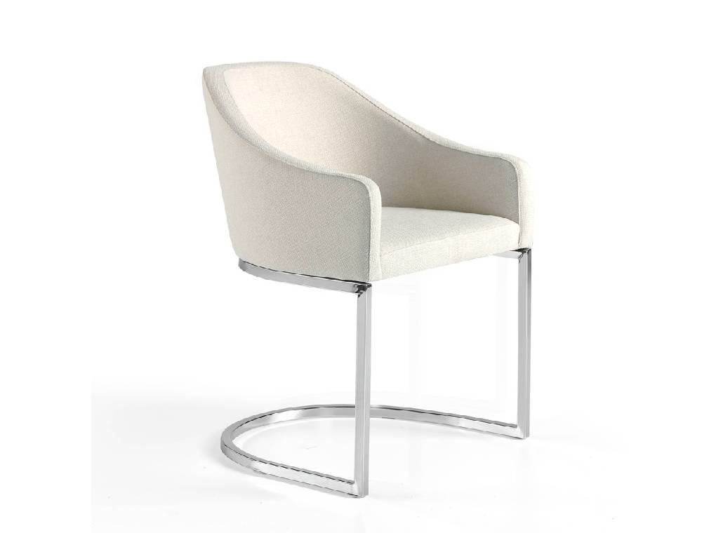 Upholstered Armchair with stainless steel frame.