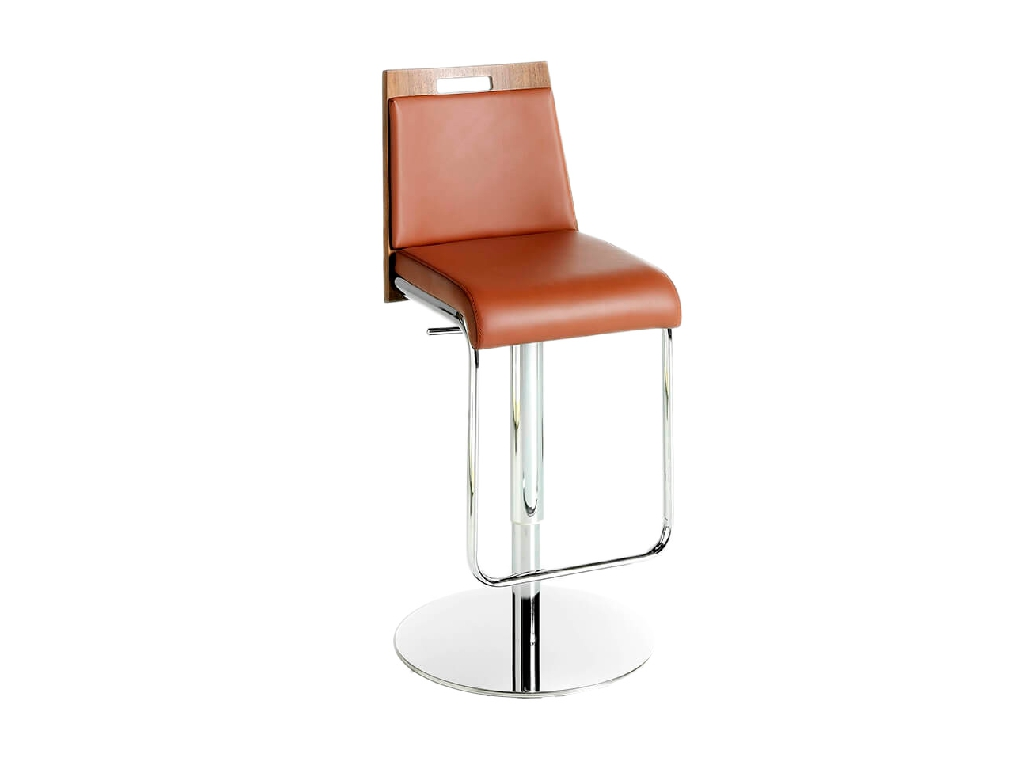 Stool upholstered in leatherette with chromed steel frame