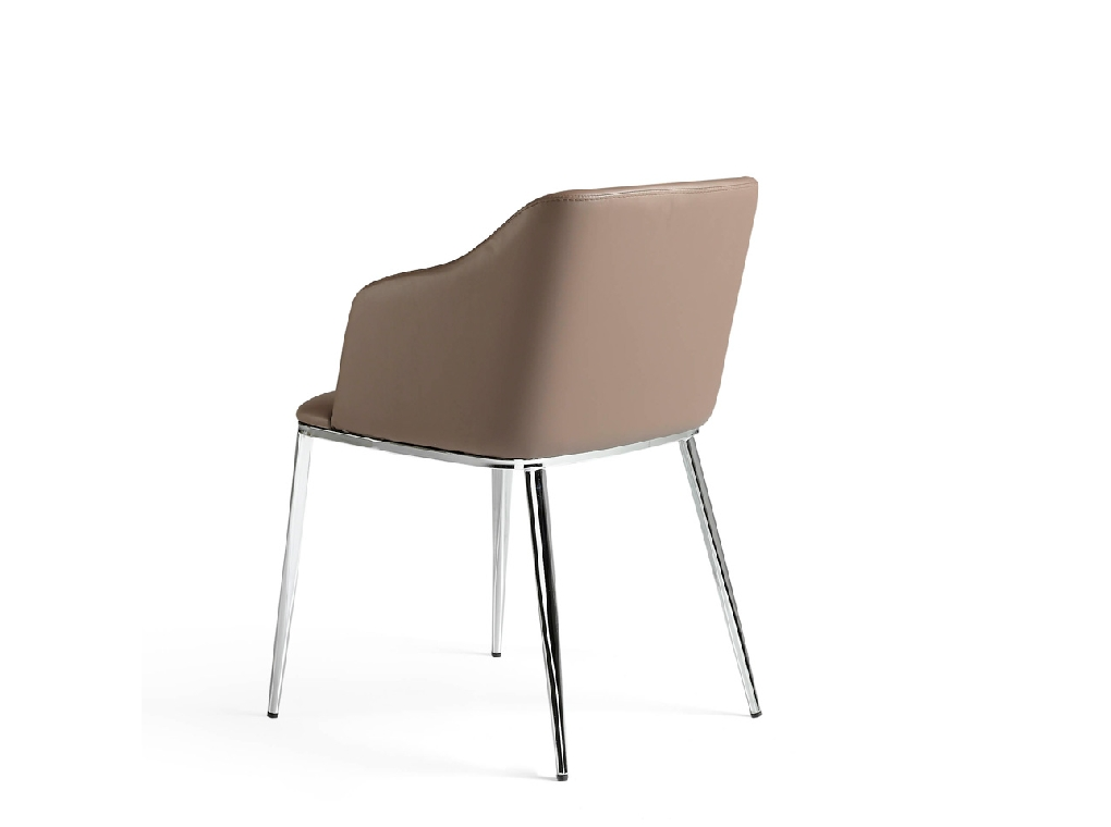 Upholstered chair with chrome steel structure