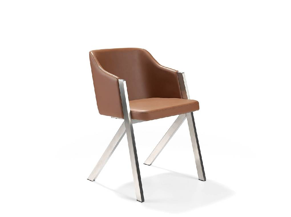 Upholstered chair with polished steel structure