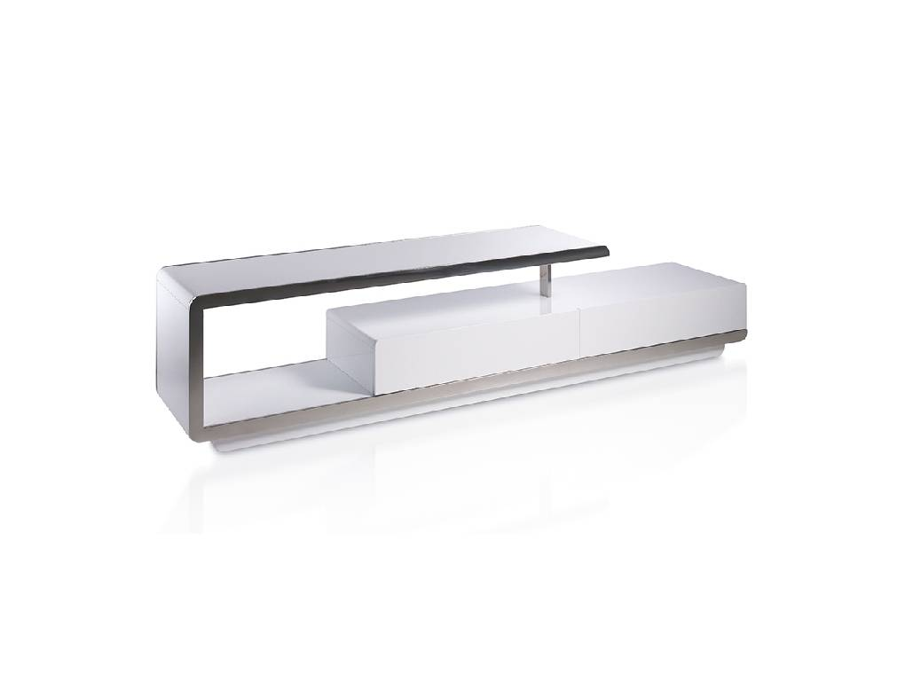 Lacquered Mdf  TV unit with stainless steel front