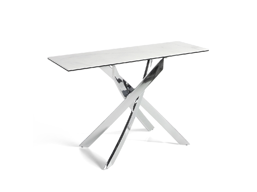 Console with chromed steel base