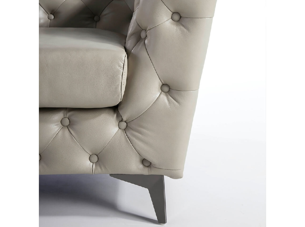 2-seater Sofa upholstered in leather with steel legs