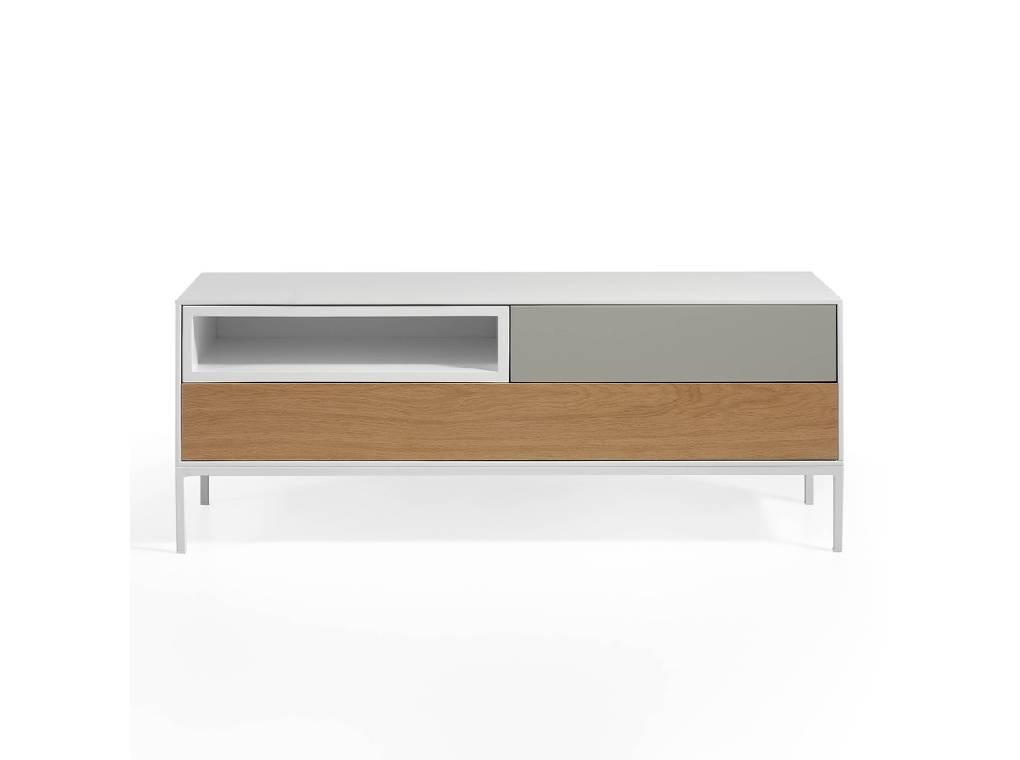 Mueble TV estructura metálica con frontales de DM y roble y estante lacado