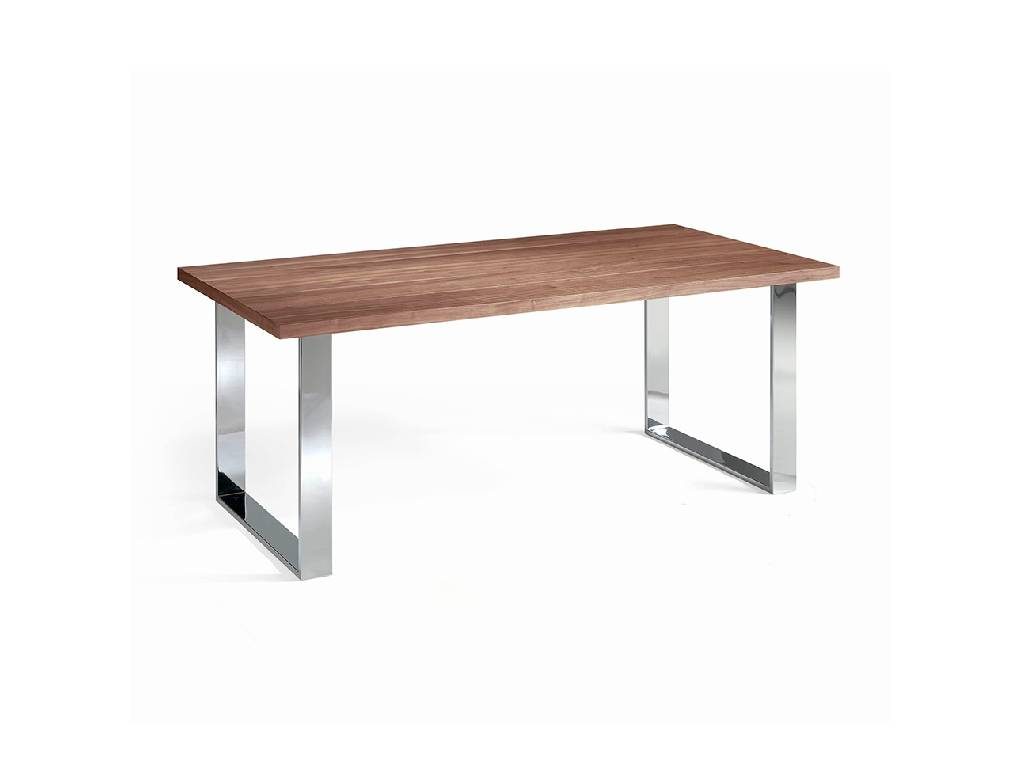 Walnut wood and chrome steel dining table
