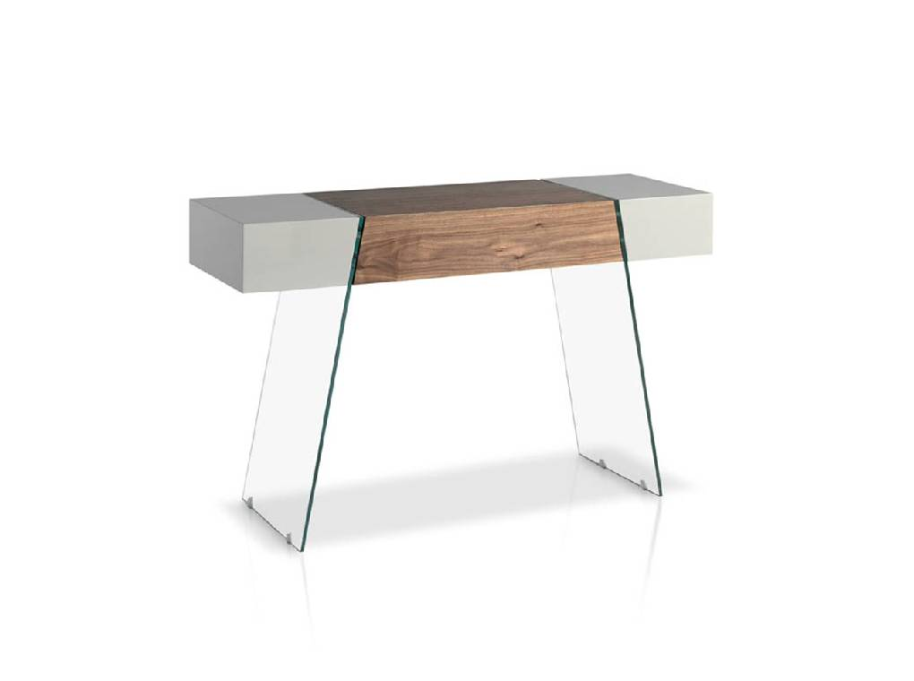 Glass console, Walnut-veneered wood and lacquered MD.