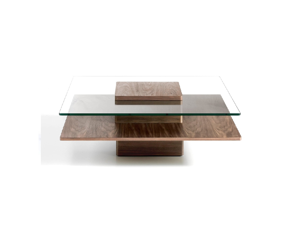 Walnut-veneered wooden centre table with tempered glass cover.