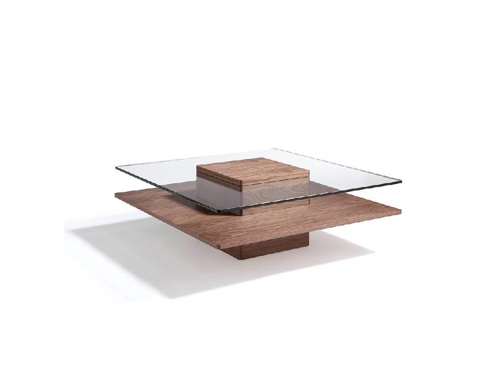 Mesa de centro de madera chapada en Nogal con tapa de cristal templado