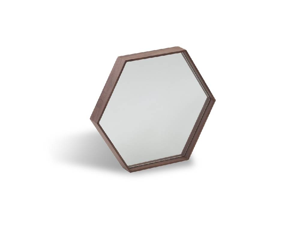 Mirror with frame manufactured in Walnut plate