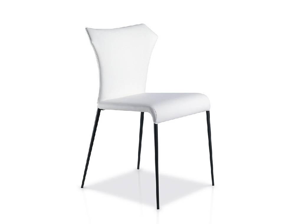 Chair upholstered in leatherette with black steel legs