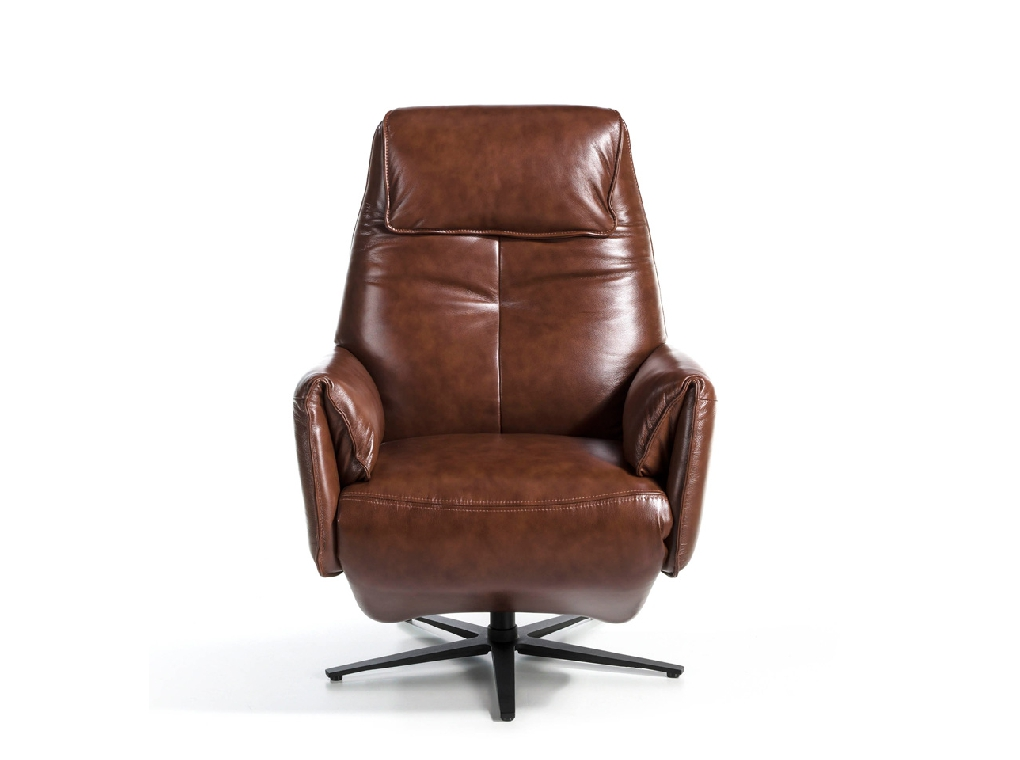 Relaxing swivel chair with double folding electric mechanism