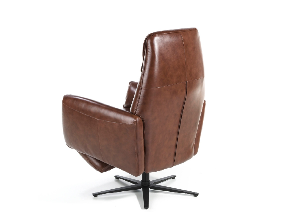 Swivel double relax armchair upholstered in leather