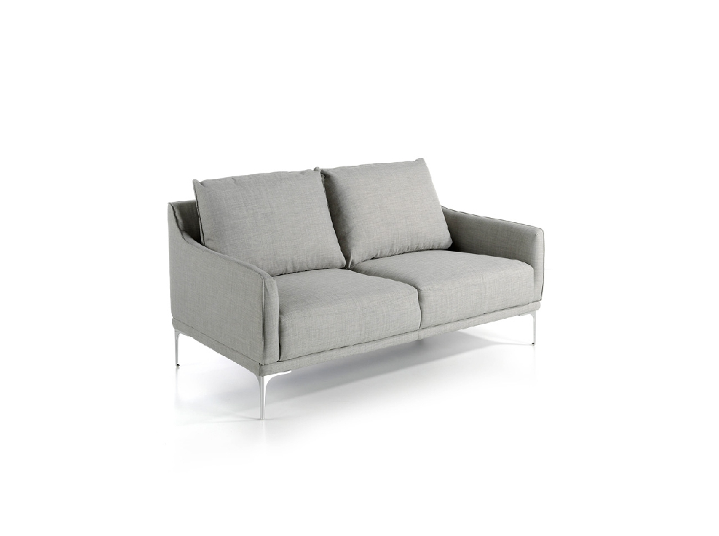 2 seater sofa upholstered in leather with chrome steel legs