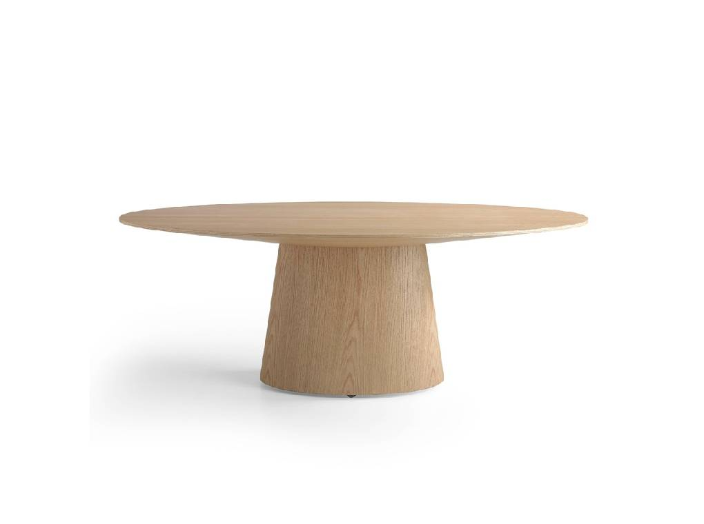 Mesa de comedor ovalada de madera chapada en roble