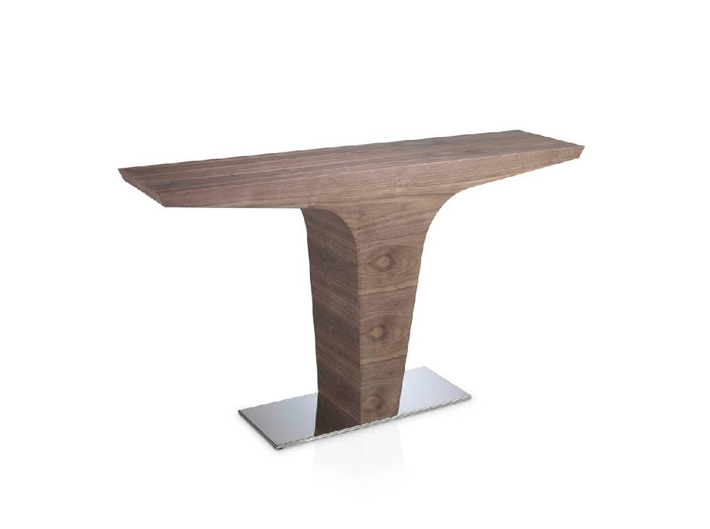 Walnut-veneered wooden console