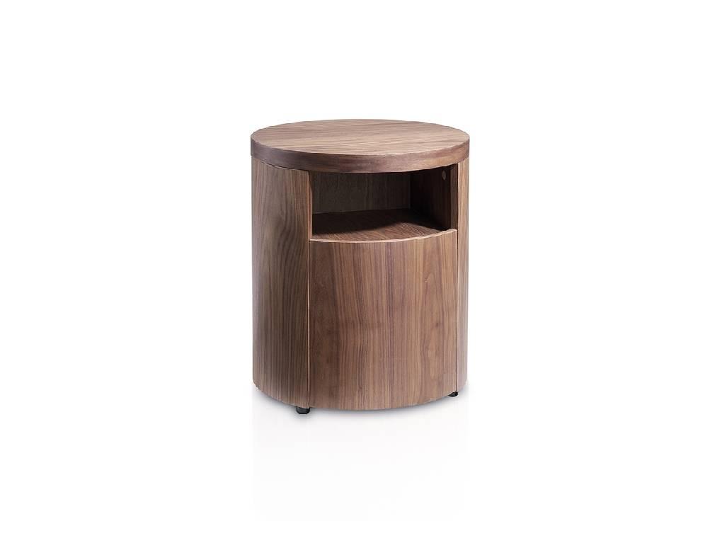 Night table in walnut veneered wood with hidden drawer.