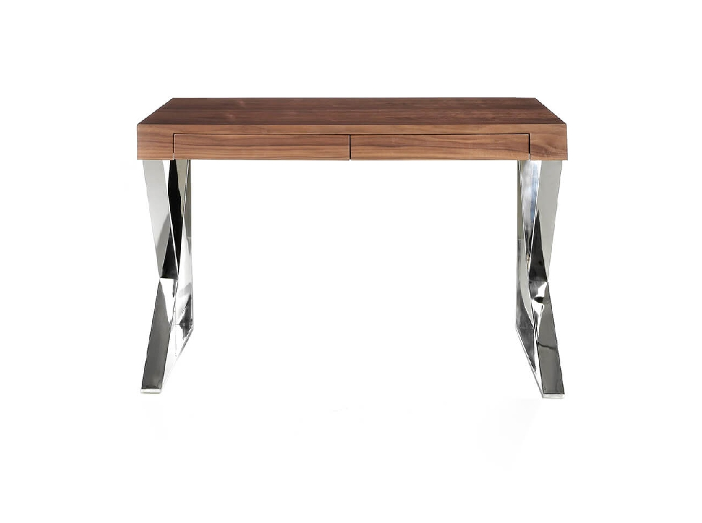 Office desk in walnut veneered wood with stainless steel frame