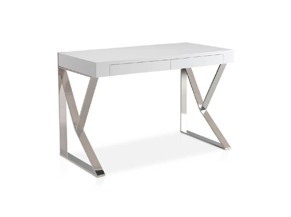 White wooden office desk and chrome steel