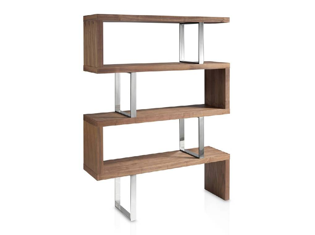 Bookshelves in walnut veneered wood and stainless steal structure.