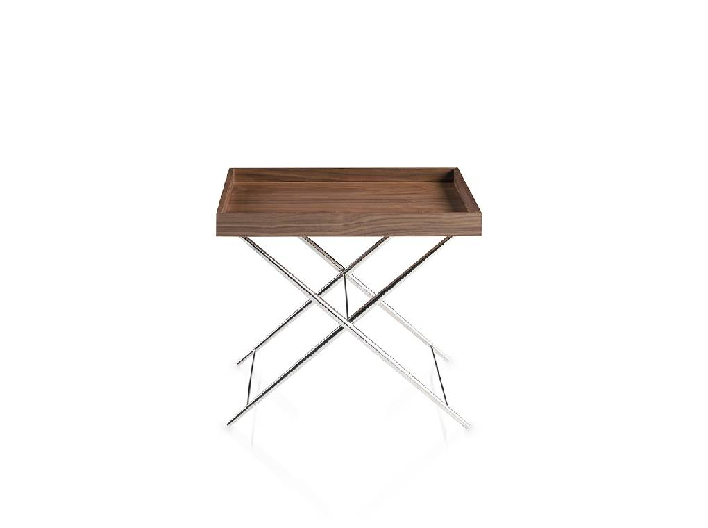 Corner table in Walnut wood and chromed steel