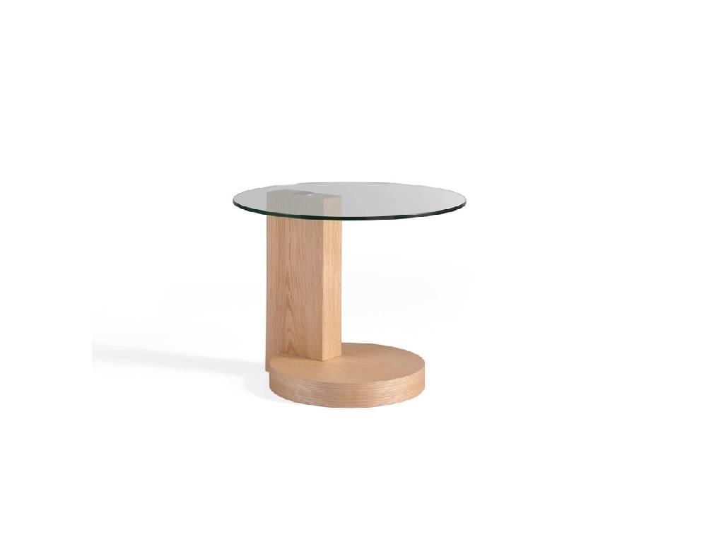 Mesita de rincón en madera chapada de roble y tapa de cristal templado
