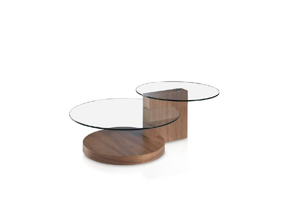 Coffee table in walnut veneered wood and tempered glass top.