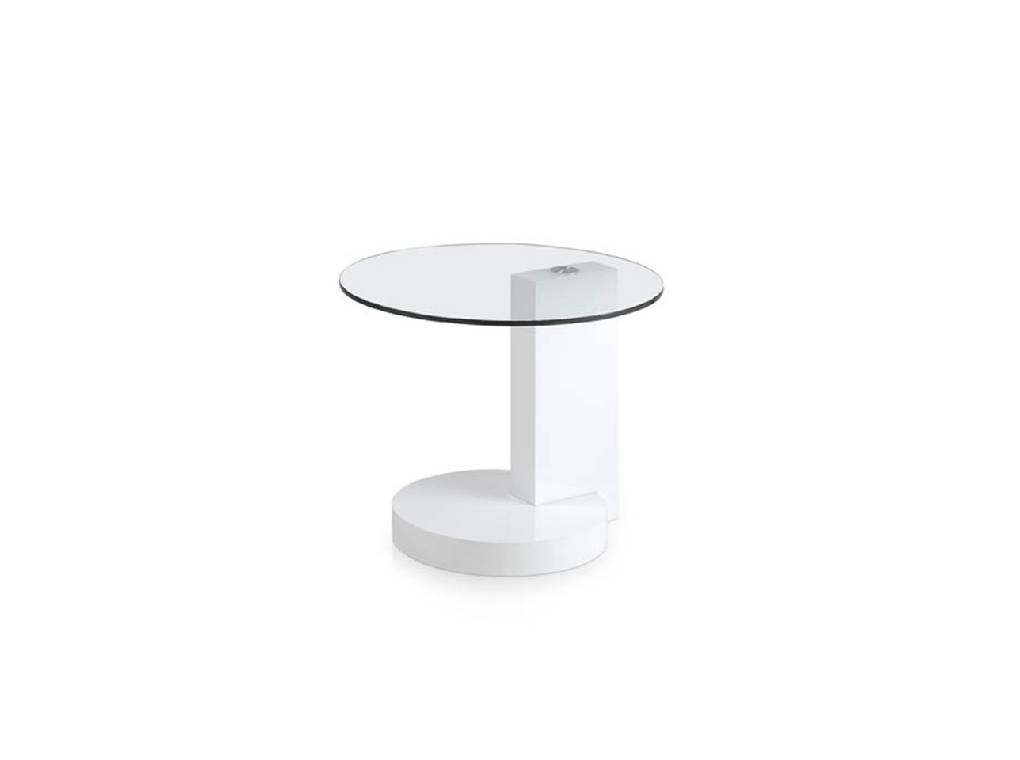 Lacquered corner table and tempered glass top