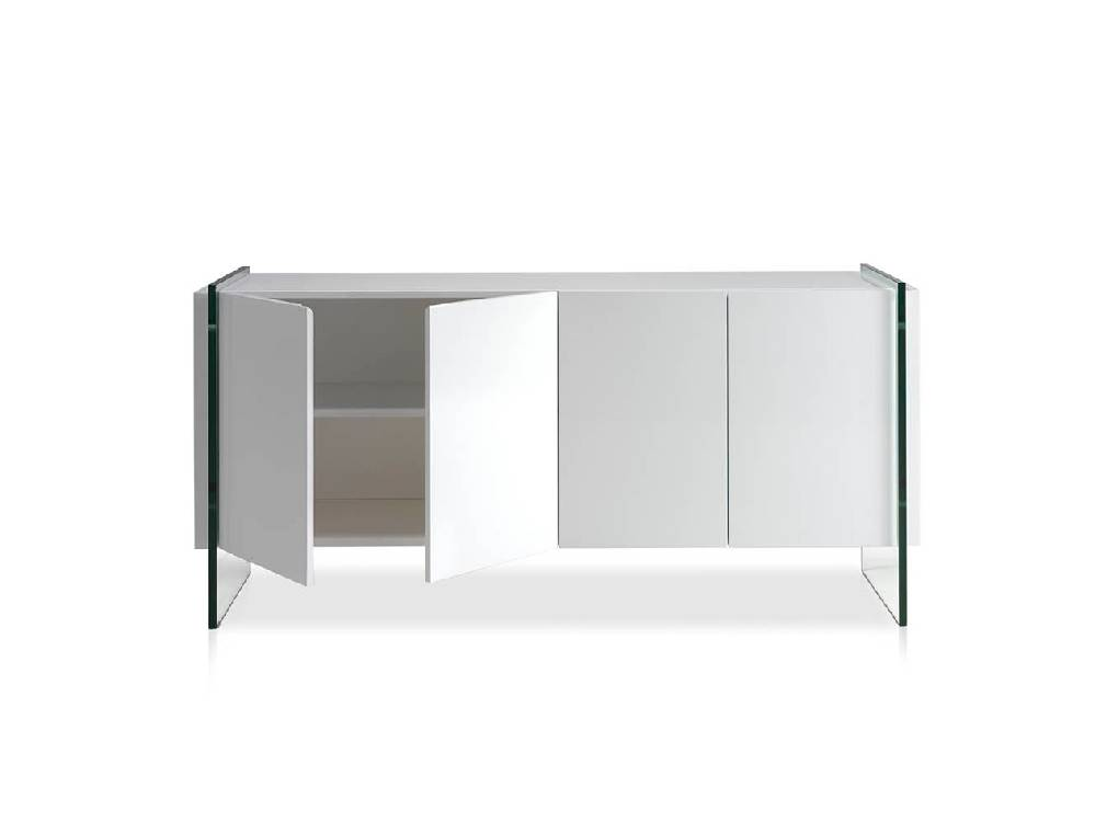Lacquered sideboard with tempered glass sides