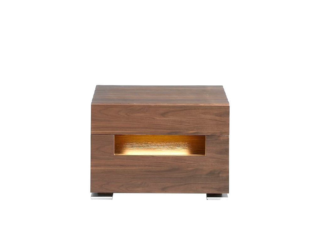 Bedside table in natural walnut veneer with interior leds